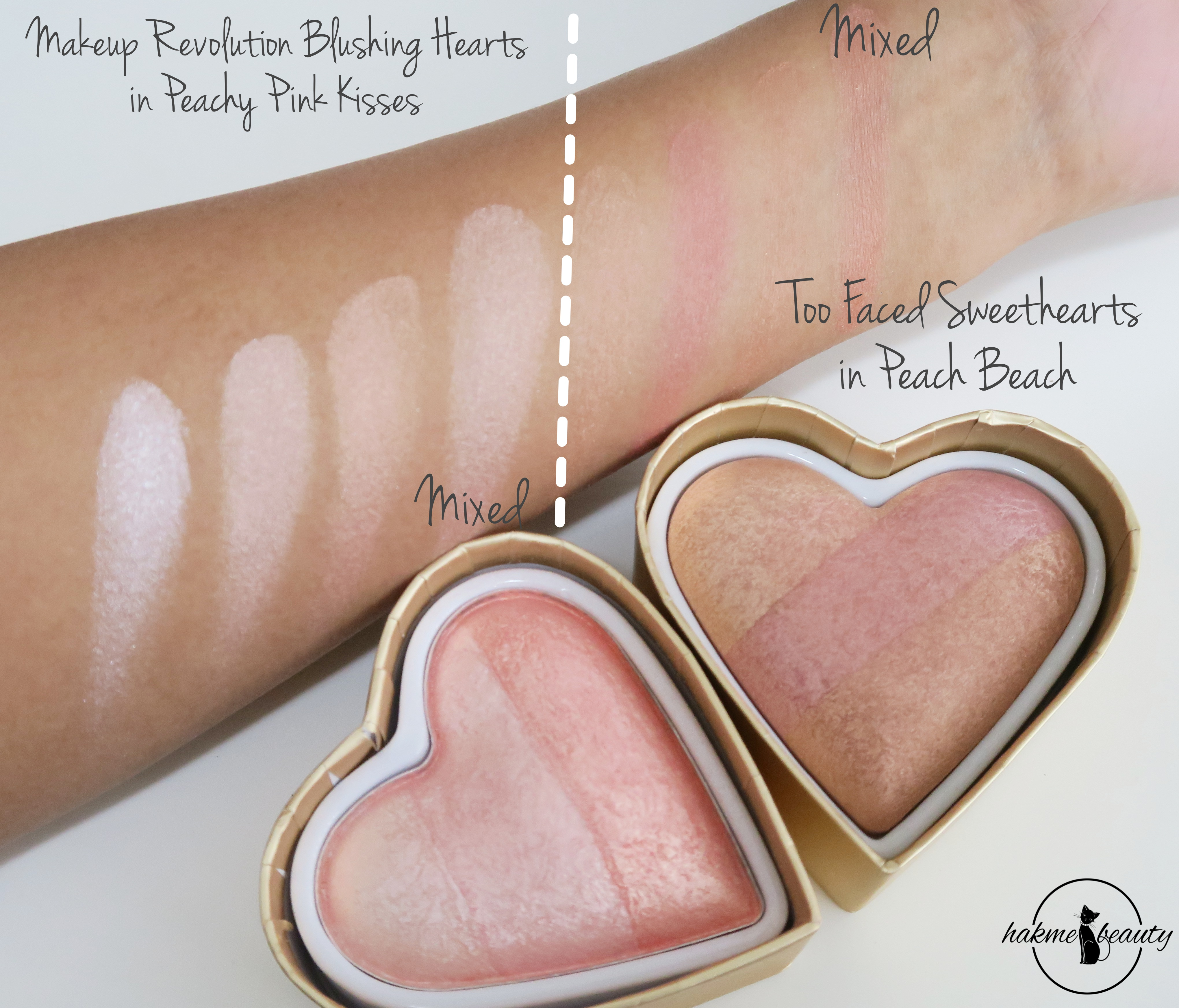 Too faced sweethearts vs makeup revolution blushing hearts